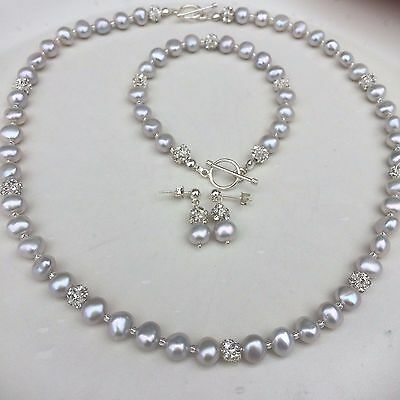 Designer Grey Freshwater Pearl Necklace Sterling Silver Toggle Gray Jewelry Gift