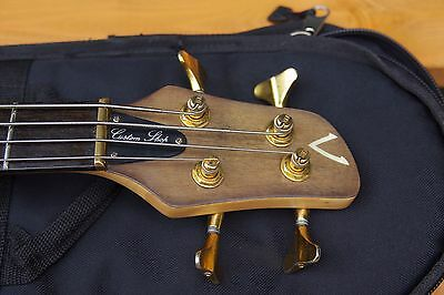 Vester Clipper custom shop bass. With Gotoh tuners, Levy Strap and a Fender bag