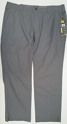 "New NWT Men's Under Armour Gray Striped Golf Pants 42"" X 32""   P106"