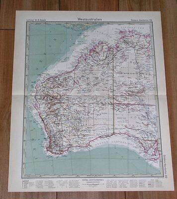 1932 Original Vintage Map Of Of Western Australia / Perth