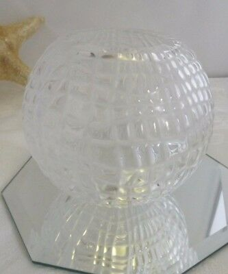Baccarat Frosted Clear Crystal Textured Round Rose Bowl Vase Stunning