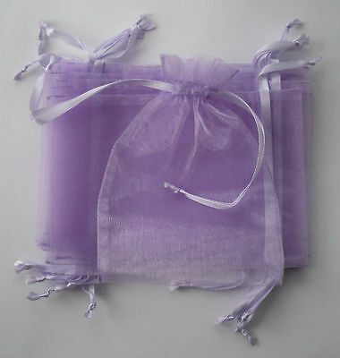 10 large lilac organza gift pouches/bags with drawstring