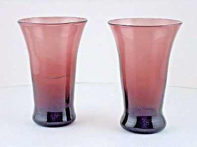 "Amethyst Glass Hand Blown Tumblers Flared Lip Weighted Base 2pcs 5.75"" T"
