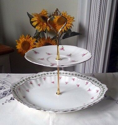 2tier Vintage /Shabby Chic Bone China Cake stand Afternoon Tea/ Party/ Wedding