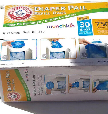 Munchkin Arm & Hammer Diaper Pail Snap, Seal and Toss Refill Bags, 750 Count, 30