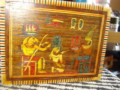vintage egyptian themed inlaid wooden box