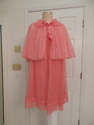 vtg womens nightgown peignoir set jacket  50's 60's 2pc pink Vanity Fair RARE L