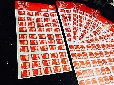 Royal Mail 1st First Class Large Letter Stamps x 50,  Brand New, Self Adhesive.