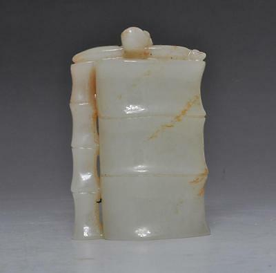 Fine Old Chinese Hetian Jade Bamboo Statue Pendant #089