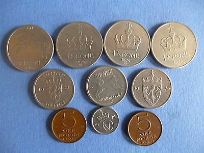 """TEN"" COINS from NORWAY, all listed"
