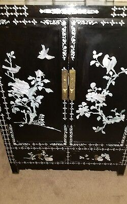 Antique Chinese  Black Lacquer Cabinet Mother of Pearl Inlay.