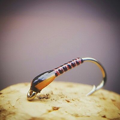 Orange / Red Holo Buzzers size 14 (Set of 3) Fly Fishing Straight