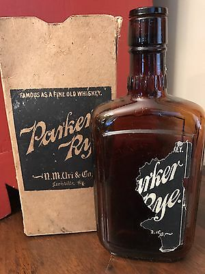 PARKER RYE NM URI & CO LOUISVILLE KY Pre-Prohibition Whiskey Bottle w/ Orig Box