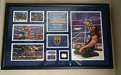 Wwe Wrestlemania 32 Roman Reigns Signed Plaque 69/500