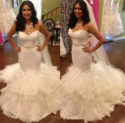 Mermaid White/Ivory Wedding Dress Lace Bridal Gown Custom 4+6+8+10+12+14+16+18++