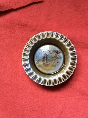 Irish Porcelain Ashtray With Fisherman In Good Condition