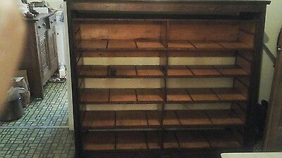 Vintage solid Oak Entertainment Center bookcase shelves file display cabinet WOW