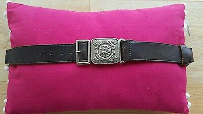 Vintage Girl Guide Brown Leather Belt With Metal Clasp Buckle