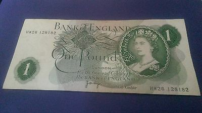 Bank of England Old One Pound Note signed J.B Page