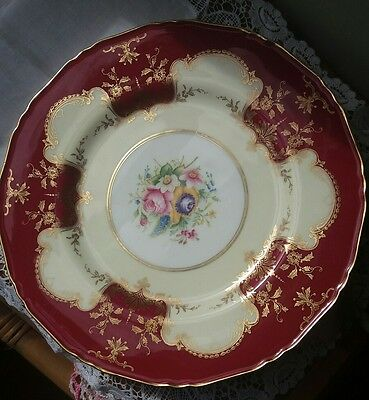 Royal Worcester Large Floral Cabinet Plate Roses Summer Flowers Gold Cream Red