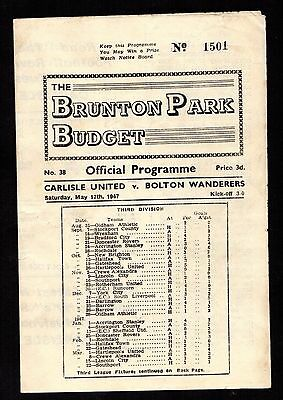 Rare 1947 Friendly Carlisle United v Bolton