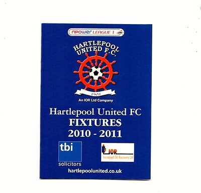 Fixture Booklet - Hartlepool United 2010-2011