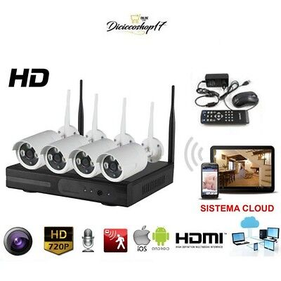 Kit Videosorveglianza 4 Telecamere Nvr Lan Remoto 3G Wireless Full Wifi Hd Ip