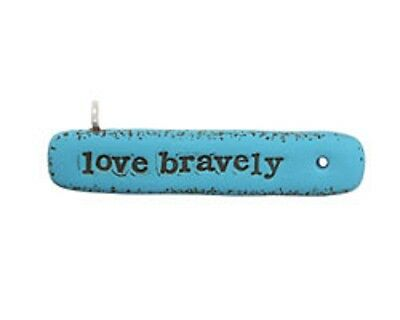 """Swoondimples Polymer Clay Turquoise """"Love Bravely"""" Pendant Link 55x15mm"""
