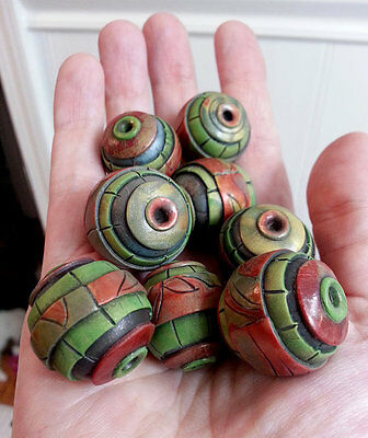 Cinnamon red and olive green Polymer Clay Beads