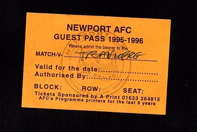 1996-1997 Friendly AFC Newport v Tranmere Rovers Ticket