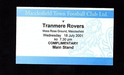 2001-2002 Friendly Macclesfield Town v Tranmere Rovers Ticket