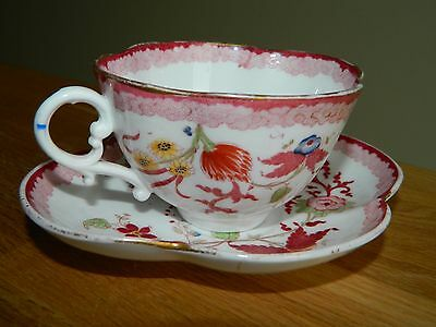 Antique Sarreguemines porcelain cup and saucer with Minton pink floral design