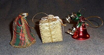 "Lot of 3 Christmas ornaments, 2 bells, package, plaid fabric, metal, 3"" high"