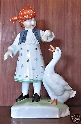 """Herend """"girl With Goose""""  #5565-0-00/c  Vg Condition"""