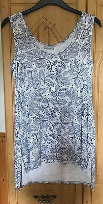 Navy and White Sleeveless Tunic Top Size 12
