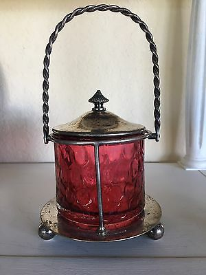 Antique Cranberry Glass Jar with Silver plate Lid and Twisted Handle Holder
