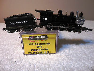 N Scale Roundhouse RTR C&O 2-6-0 Mogul Steam Loco RD#49 Item #8062