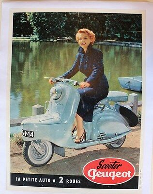 Affiche Originale Ancienne Scooter Peugeot S 57 Vespa Lambretta Pin Up Juin 1954