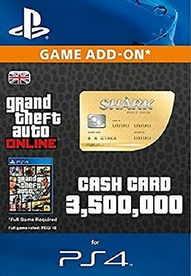 Grand Theft Auto Online: Great White Shark Cash $1,250,000 PS4 UK GTA 5 V Code