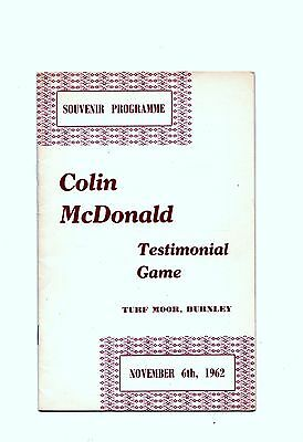 1962-1963 Burnley v All Star XI Colin McDonald Testimonial