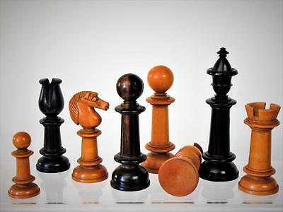 "Antique English  Northern Up Right Chess Set  King 4""  +  Box  &  Board"