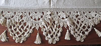 antique pillow layover cream linen w great crochet trim on three sides, 61 x 17""