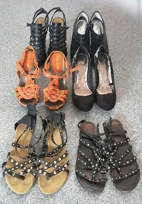 6 Pairs of Size 5 Shoes - 4 High Heels & 2 Gladiator Sandals Bundle Job Lot