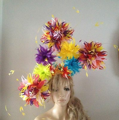 Yellow/purple/turquoise/red/fascinator/hat/vintage/ascot/feather/wedding/races