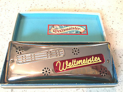 Rare Antique Beautiful German Weltmeister Vermona Harmonica 48 Holes + box 7.25""