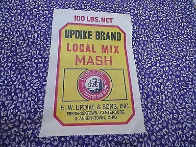 VTG 1940s~50~FEED SACK~PURPLE WHITE~BOWS~NOS~LABEL~MATERIAL~UPDIKE BRAND~OHIO~NR