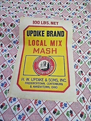 Vtg 1940~50~Feed Sack~Red~Blue Green~Floral~Nos~Label~Material~Updike Brand~Ohio