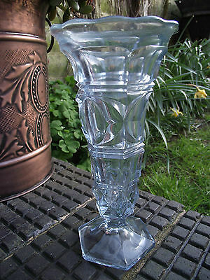Davidson ? Blue Pressed Glass Vase Art Deco / Mid Century Period