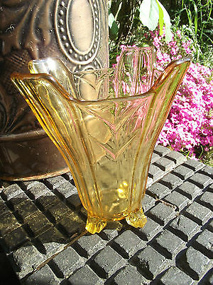 Sowerby Art Deco Chevron Vase S 2631 Amber Glass - Shabby Chic Retro