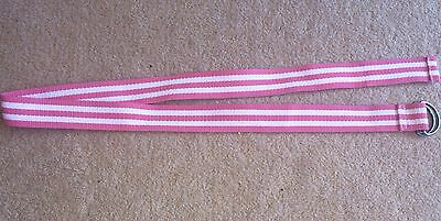 Girls Pink And White Striped Belt